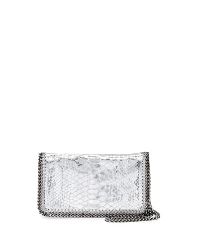 Falabella Faux-Snake Crossbody Bag, Silver