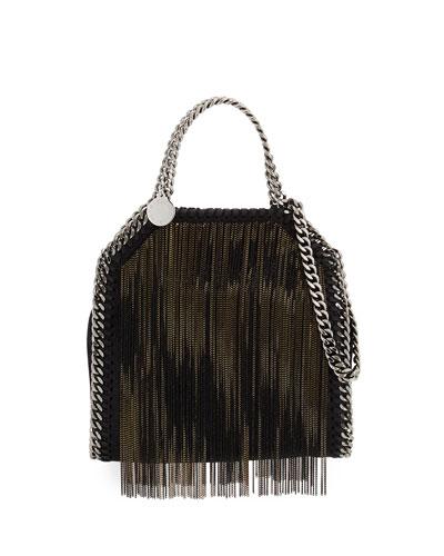 Falabella Tiny Metal Fringe Tote Bag Black Bronze