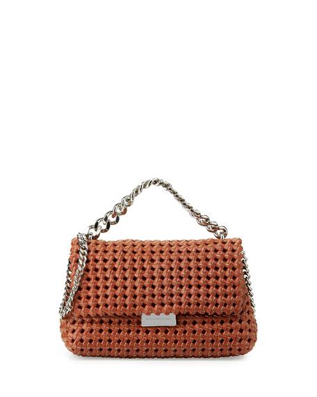 Bex Small Woven Flap Shoulder Bag, Brandy