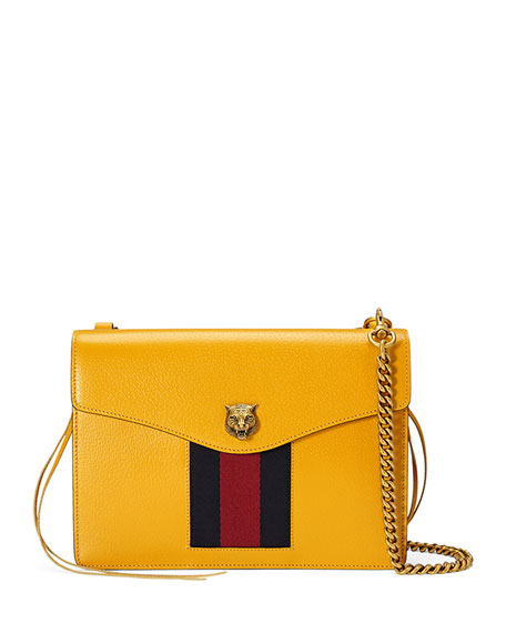 Gucci Animalier Leather Shoulder Bag, Yellow