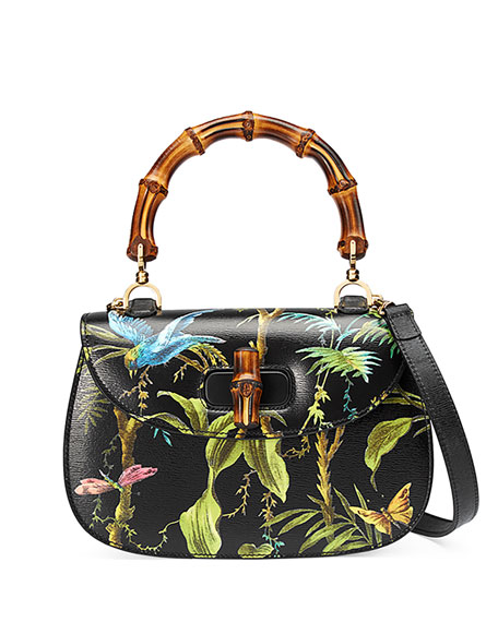 Bamboo Classic Tropical-Print Top-Handle Satchel Bag, Black/Multi