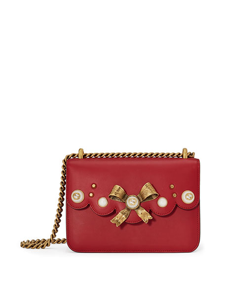 Peony Small Leather Chain Shoulder Bag, Red