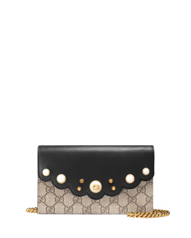 1781ce989a25fa Gucci Peony GG Supreme Pearly Mini Wallet-On-Chain, Black   Neiman ...