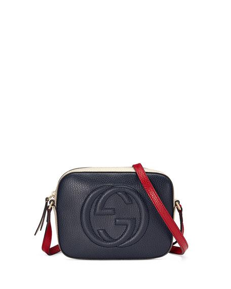 Soho Leather Shoulder Bag, Navy/White/Red