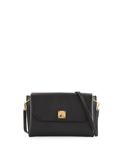 Milla Small Leather Clutch Bag, Black