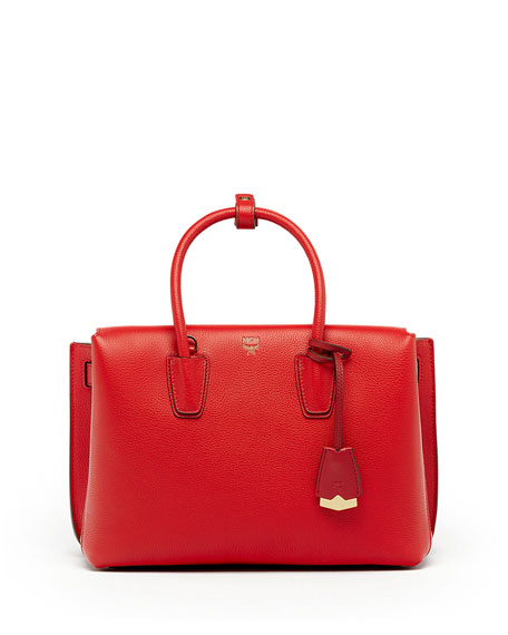 MCM Milla Medium Leather Tote Bag, Ruby Red