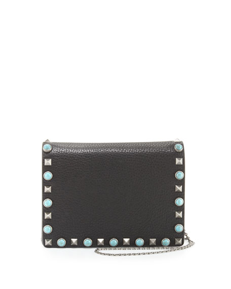 Valentino Rolling Rockstud Flap Pouch Bag/Wallet-on-Chain, Black