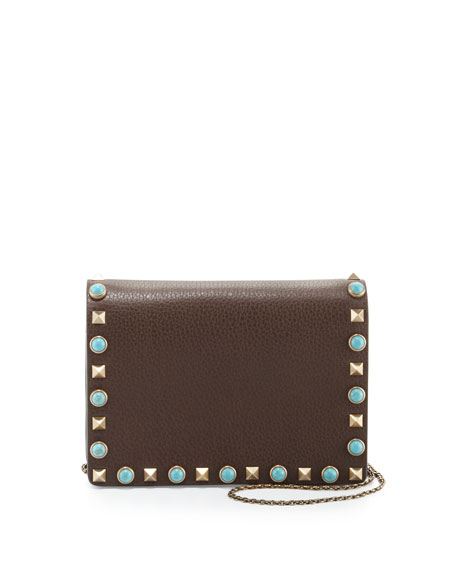 Valentino Rolling Rockstud Flap Pouch Bag/Wallet-on-Chain, Dark