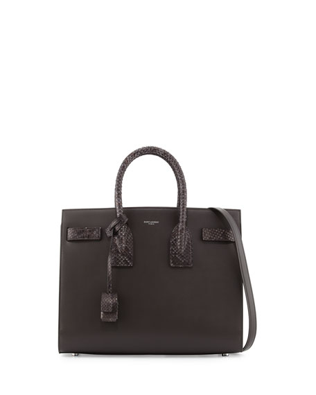 Saint LaurentSac de Jour Small Grained Leather/Python Satchel