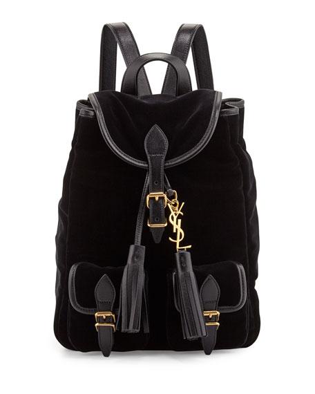Saint Laurent Festival Small Velvet Backpack Black