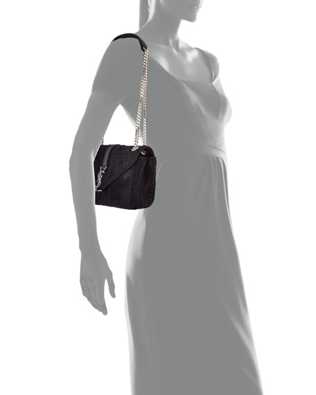 Monogram Medium Macrame Suede Slouchy Chain Shoulder Bag, Black