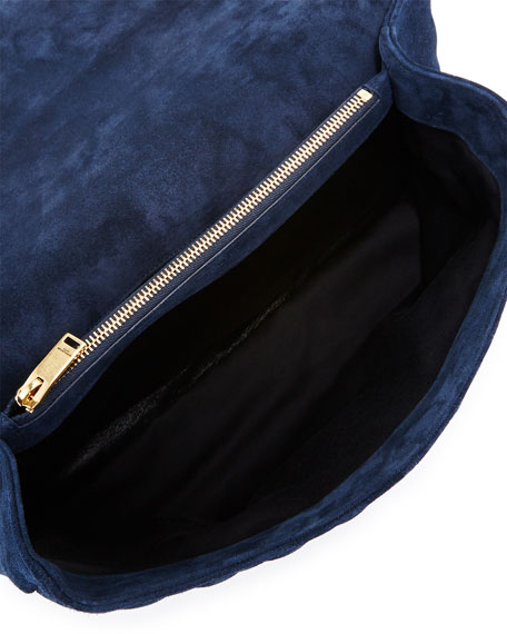 Loulou Monogram Large Mixed-Matelassé Suede Envelope Satchel Bag, Navy