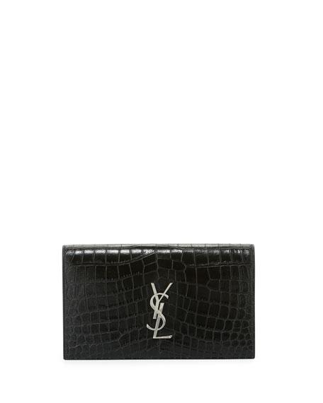 Kate Monogram Crocodile-Embossed Clutch Bag, Black
