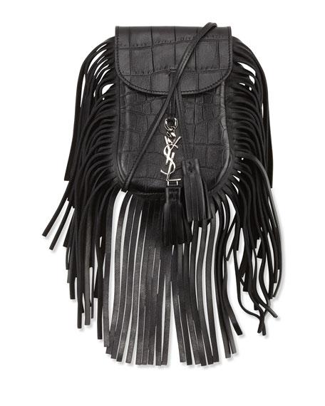 Anita Toy Flat Fringe Croc-Embossed Crossbody Bag, Black