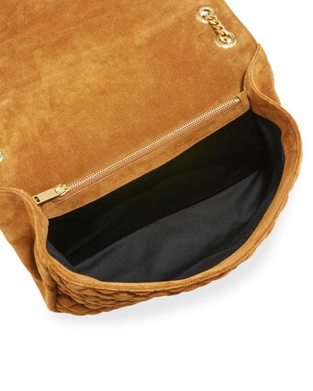 Monogram Large Mixed-Matelassé Suede Envelope Satchel Bag, Tan