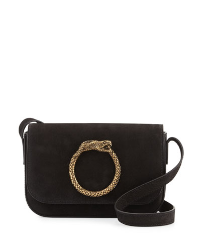 Eddie Besace Suede Serpent Shoulder Bag, Black
