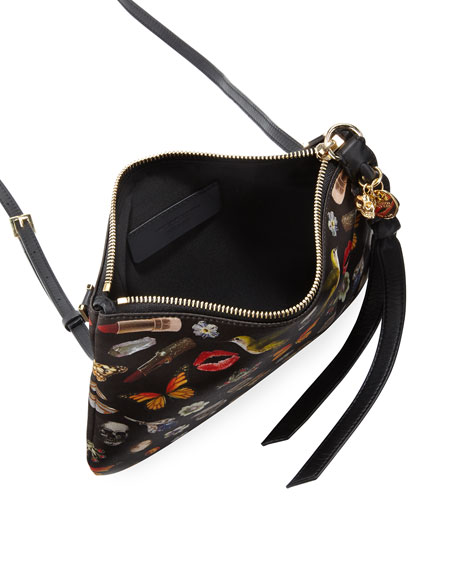 Obsession-Print Zip Pouch Bag, Black/Multi