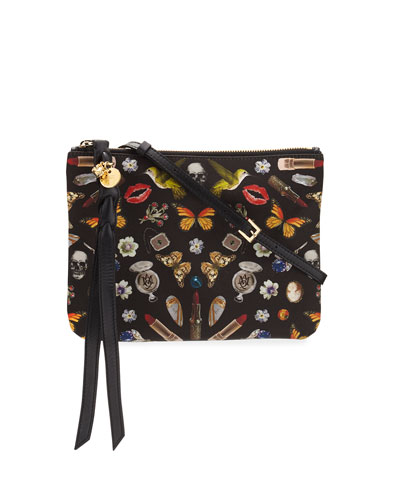 Obsession-Print Zip Pouch Bag, Black/Multi