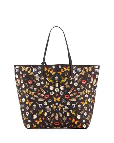 Skull Multi-Print Open Leather Shopper Tote Bag, Black/Multi