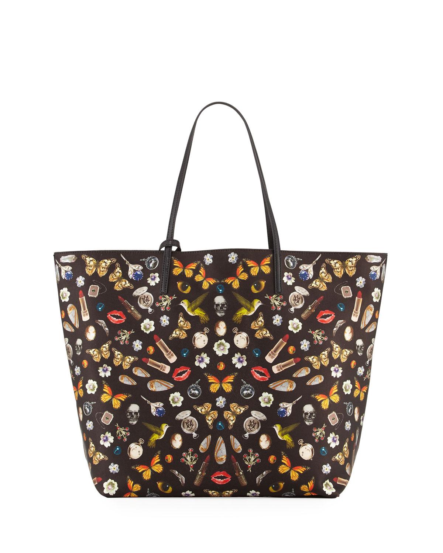 974ef83476 Alexander McQueen Skull Multi-Print Open Leather Shopper Tote Bag ...