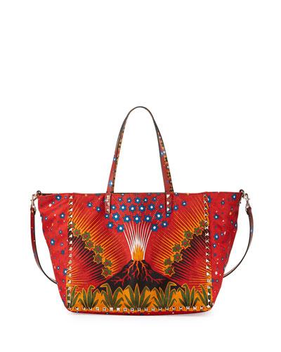 Medium Enchanted Wonderland Rockstud Reversible Tote Bag, Black/Tan