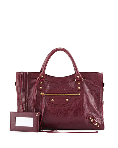 Classic Golden City Lambskin Tote Bag, Maroon