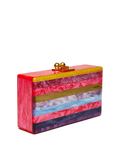 Jean Striped Acrylic Clutch Bag, Fuchsia Multi