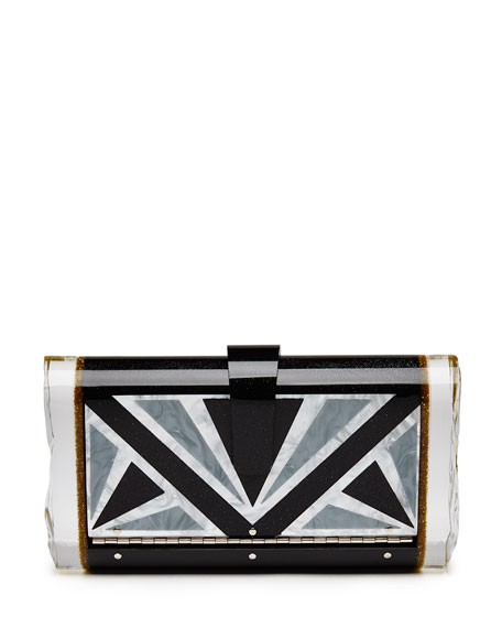 Edie Parker Lara Empire Geometric Clutch Bag, Obsidian