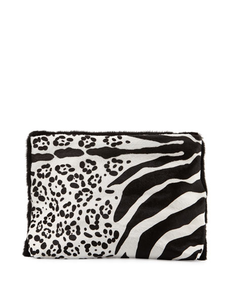 Nancy Gonzalez Calf-Hair Medium Fold-Over Clutch Bag, Black/White