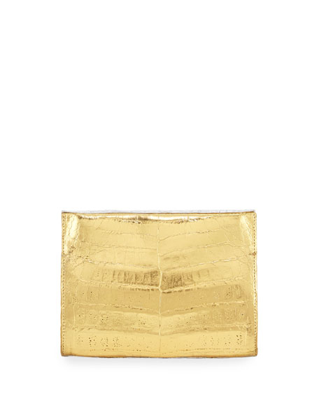 Crocodile Small Clutch Bag, Silver/Gold