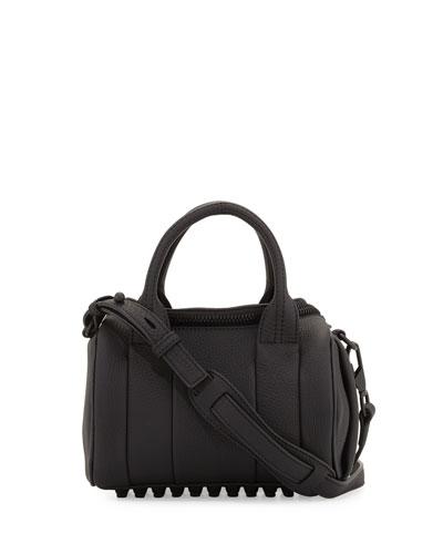 Rockie Mini Matte Leather Duffel Bag, Black