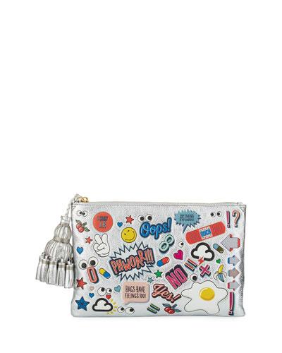Georgiana All Over Wink Sticker Clutch Bag, Silver