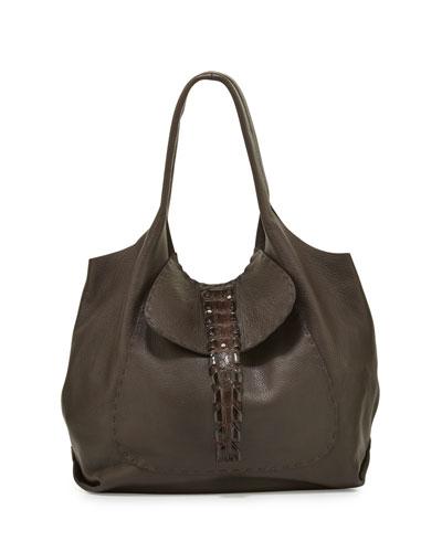 Canotta Crocodile-Tail Hobo Bag, Cognac