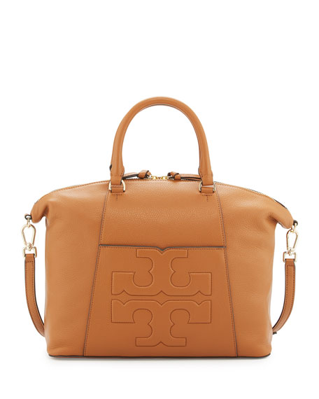 Tory Burch Bombé-T Medium Slouchy Satchel Bag, Tan