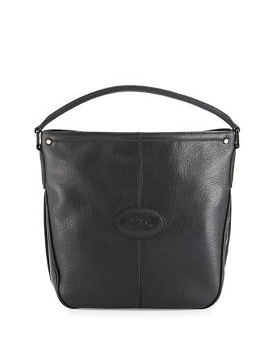 Mystery Leather Hobo Bag, Black