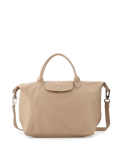 Le Pliage Cuir Handbag with Strap, Greige