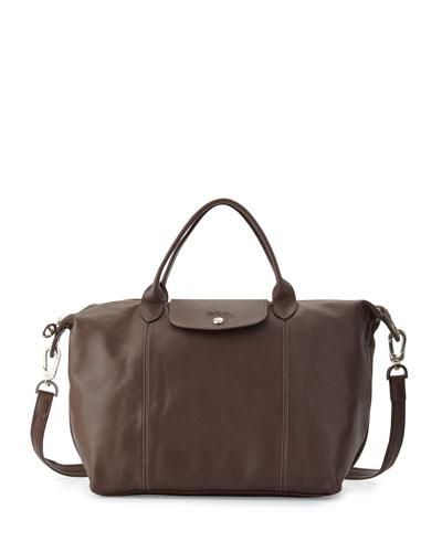 Le Pliage Cuir Handbag with Strap, Terra