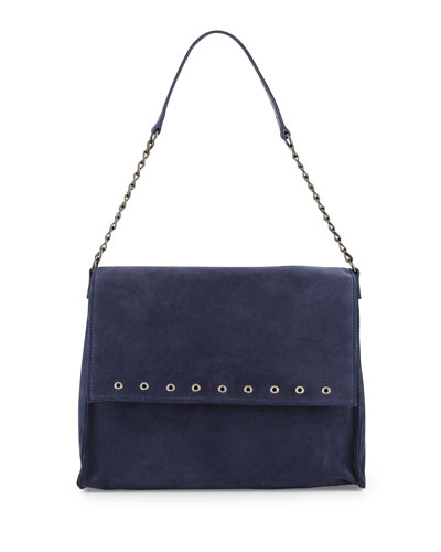 Paris Rocks Suede Shoulder Bag, Navy