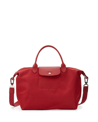 Le Pliage Neo Medium Handbag with Strap, Ruby