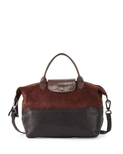 Le Pliage Cuir Cody Medium Handbag with Strap, Ebony