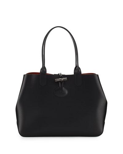 Roseau Reversible Leather Tote Bag, Black/Brick