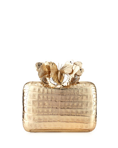Butterfly Crocodile Box Clutch Bag, Champagne