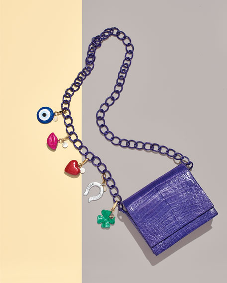 Gio Crocodile Charm Crossbody Bag, Purple