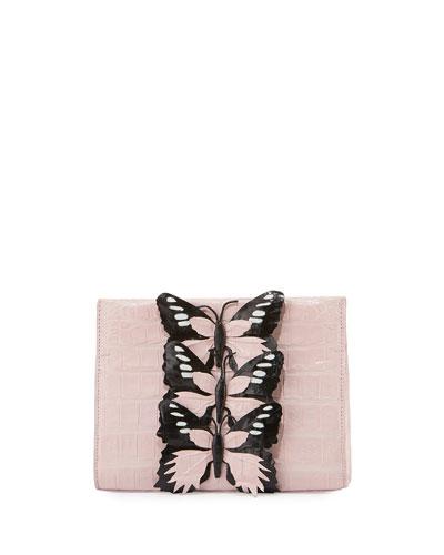 Butterfly Crocodile Small Clutch Bag, Blush/Black