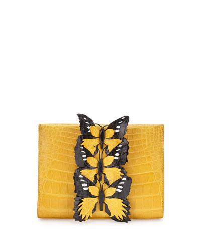 Butterfly Crocodile Small Clutch Bag, Yellow/Multi