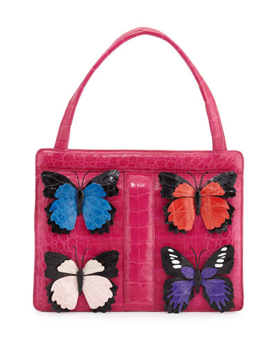 Small Butterfly Stripe Crocodile Frame Bag, Pink Multi