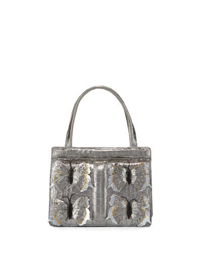 Small Butterfly Stripe Crocodile Frame Bag, Anthracite/Multi