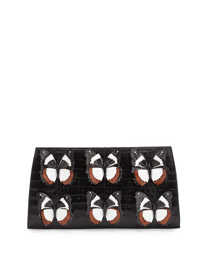 Butterfly Crocodile Small Slicer Clutch Bag, Black/Multi