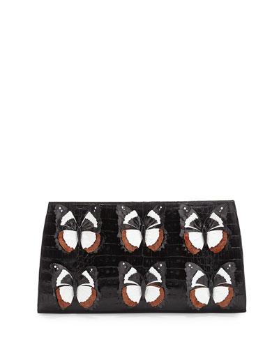 Butterfly Crocodile Small Slicer Clutch Bag, Black/Multi