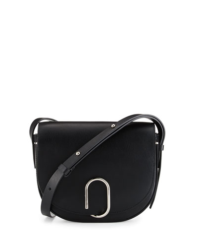 Alix Leather Saddle Bag, Black